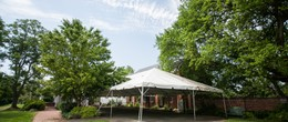Tent covered Flagstone patio